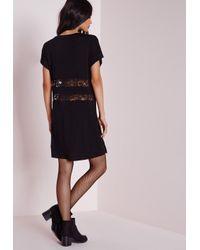 Missguided Lace Insert Oversized T-shirt Dress Black