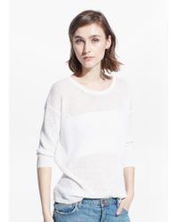 Mango Natural Knit Linen Sweater