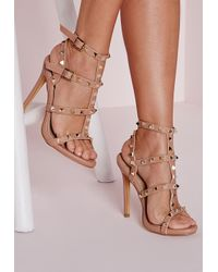 736f90e523cc4c Lyst - Missguided Studded Heeled Gladiator Sandals Blush in Pink