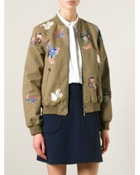 Valentino - Green Stitched Butterfly Bomber Jacket - Lyst