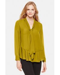 Vince Camuto | Green Ruffle Hem Tie Neck Blouse | Lyst