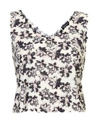 TOPSHOP White Abstract Floral Print Scallop Vest