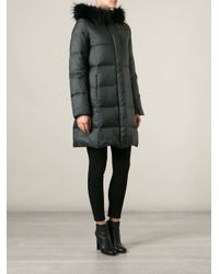 JOSEPH Green Racoon Fur Trimmed Hooded Coat