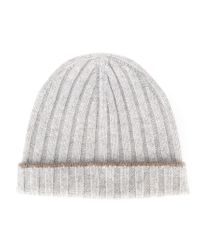 Brunello Cucinelli - Gray Ribbed Beanie for Men - Lyst
