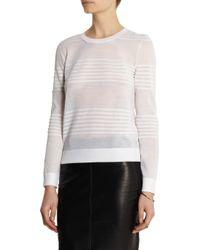 Calvin Klein | White Striped Fine-knit Wool-blend Sweater | Lyst