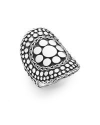 John Hardy | Metallic Dot Nuansa Curved Sterling Silver Ring | Lyst