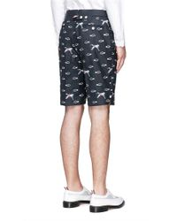 Thom Browne Blue Crane And Cloud Embroidery Wool Shorts for men