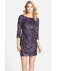 Adrianna Papell - Purple Embellished Sheath Dress - Lyst