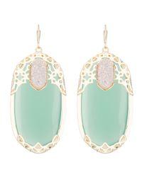 Kendra Scott - Deva Lotus Green Chalcedony Earrings - Lyst