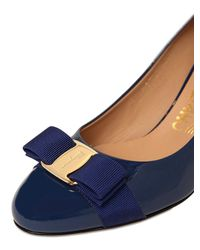 Ferragamo Blue 70mm Carla Patent Leather Pumps