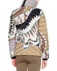 Emilio Pucci - Natural Printed Asymmetric-zip Puffer Jacket - Lyst