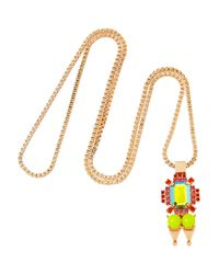 Mawi Pink Rose Goldplated Crystal and Bead Pendant Necklace