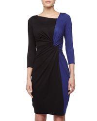 Paule Ka | Blue Twistfront Twotone Dress Cobaltblack | Lyst