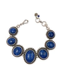 Lucky Brand - Blue Silvertone Lapis Round Link Bracelet - Lyst