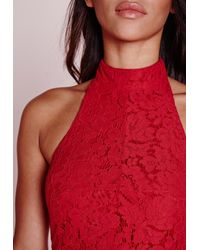 Missguided Choker Lace Halter Top Red