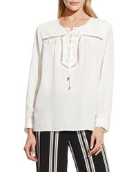 Vince Camuto | White Drop Stitch Detail Lace-up Blouse | Lyst
