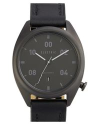 Electric Black 'ow01' Leather Strap Watch