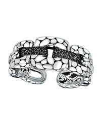 John Hardy - Metallic Kali Lava Link Kick Cuff W/ Pave Black Sapphires - Lyst