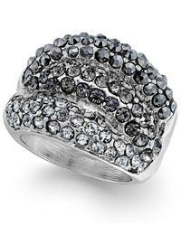 INC International Concepts | Metallic Mixed Metal Hematite And Crystal Stretch Ring | Lyst