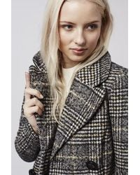 TOPSHOP - Black Checked Double Breasted Wool Blend Coat - Lyst