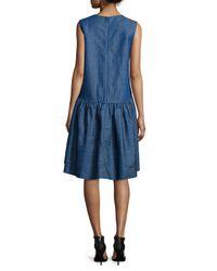 Co. - Blue Sleeveless Denim Peplum Dress - Lyst