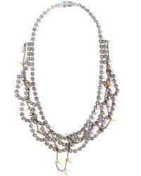 Tom Binns Gray Scalloped Crystal and Barbed Wire Necklace