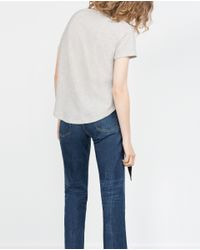 Zara | Gray Short Sleeve T-shirt | Lyst