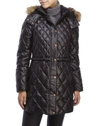 Marc New York | Black Faux Fur Trim Diamond Quilted Down Coat | Lyst