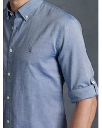 John Varvatos - Blue Oxford Peace Sign Button Up for Men - Lyst