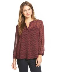 Gibson | Purple Print High-low Split Neck Peasant Blouse | Lyst