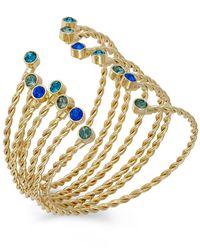 ABS By Allen Schwartz | Blue Gold-Tone Multicolor Crystal Bangle Bracelet Set | Lyst