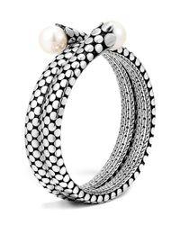 John Hardy | Metallic 'dot' Pearl Double Coil Bracelet | Lyst