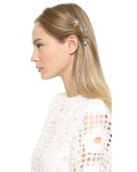 Dauphines of New York - Metallic Adorned Hair Clips - Silver/Clear - Lyst