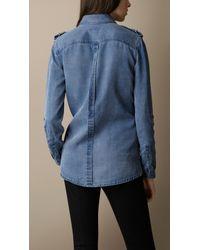 Burberry - Blue Relaxed Fit Denim Shirt - Lyst