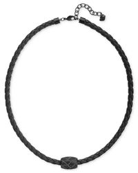 Swarovski | Men'S Caesar Pvd Metal Black Leather Necklace for Men | Lyst
