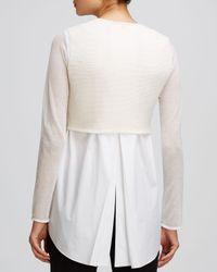 Elie Tahari White Juliana Shirttail Sweater