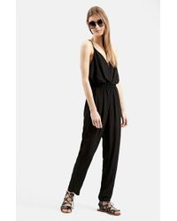 TOPSHOP - Black 'all In 1' Strappy Jumpsuit - Lyst