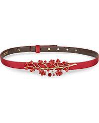 Oscar de la Renta - Metallic Floral-Embellished Leather And Grosgrain Belt - For Women - Lyst
