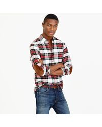 J.Crew | Red Cotton-wool Elbow-patch Shirt In Stewart Plaid for Men | Lyst
