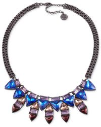 French Connection | Multicolor Hematite-tone Triangle Stone Alternating Frontal Necklace | Lyst