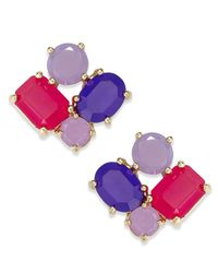 Kate Spade | Purple Gold-tone Stone Cluster Stud Earrings | Lyst