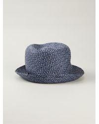 Giorgio Armani | Blue Braided Trilby Hat for Men | Lyst