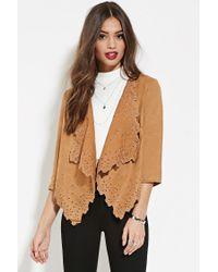 Forever 21 - Natural Faux Suede Jacket - Lyst