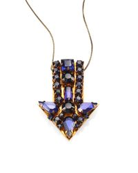 Stella McCartney | Metallic Jeweled Arrow Pendant Necklace | Lyst