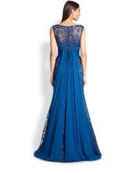 Teri Jon Blue Beaded Lace Gown