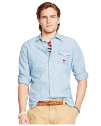 Polo Ralph Lauren | Blue Striped Poplin Bleecker Shirt for Men | Lyst