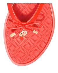 Tory Burch - Red Jelly Bow Thong Sandal - Lyst