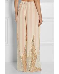 Rosamosario - Pink Amori Lineari Lace-Trimmed Silk Crepe De Chine Pajama Pants - Lyst
