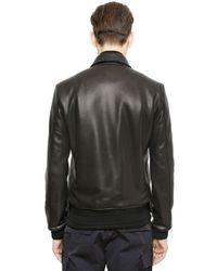 Miharayasuhiro Black Nappa Leather Bomber Jacket for men