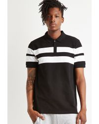 Forever 21 | Black Varsity-striped Piqué Polo for Men | Lyst